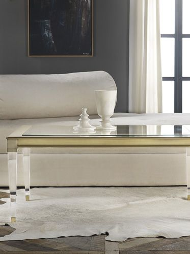Slightly Traditional Tapered Leg Coffee Table In Acrylic, Glass And Brass