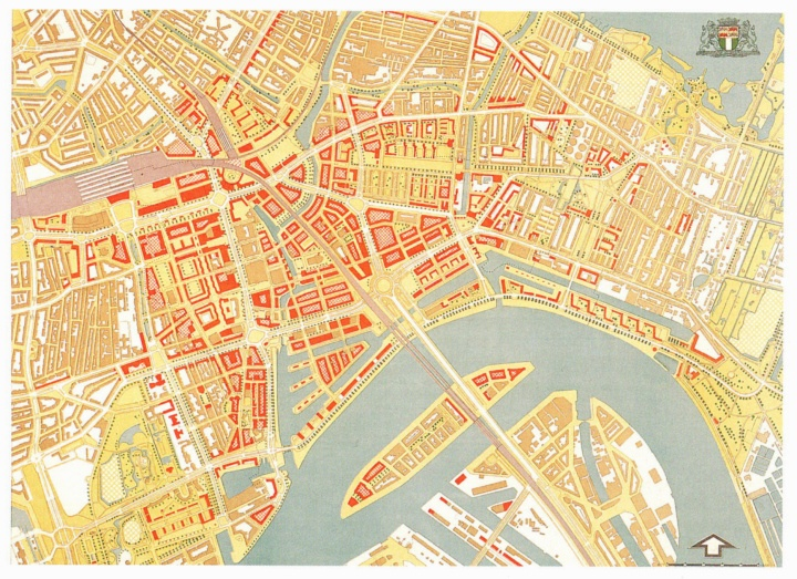 Kaart van Rotterdam centrum 1946 (map)