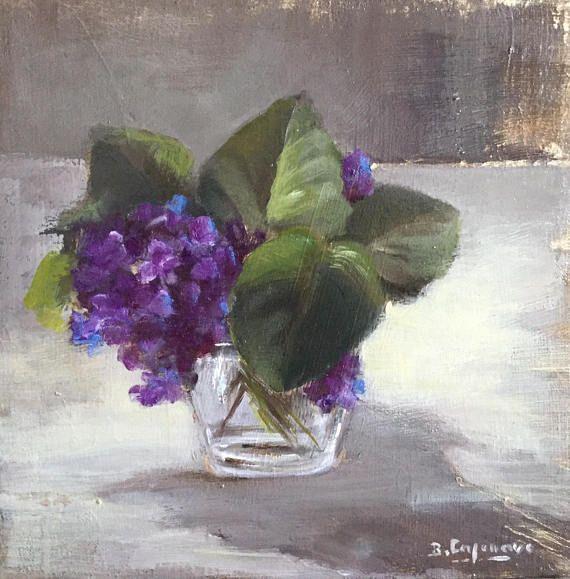 Bouquet De Violettes Dans Un Verre Leather Flowers Oil Painting On Canvas Flower Brooch