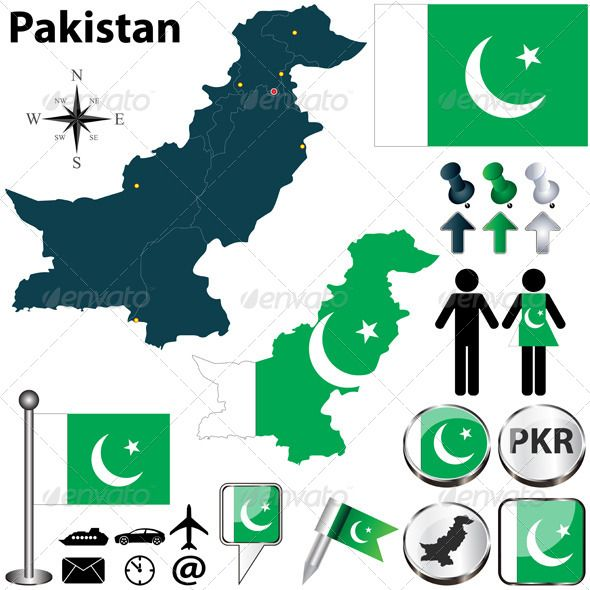 Map of Pakistan #GraphicRiver Vector of Pakistan set with detailed country shape with region borders, flags and icons. Package contains: EPS (10 version), JPG (5000×5000 pixels, RGB).