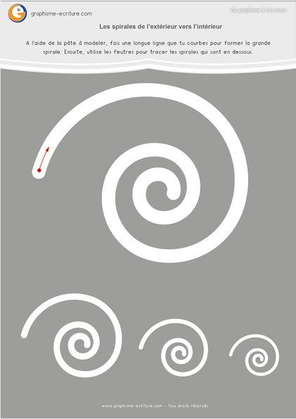 Graphisme MS Les spirales : Fiches à plastifier – Spirale  extérieur vers intérieur