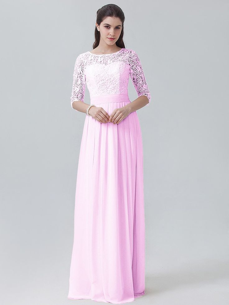 Lace Chiffon Long Sleeved Dress   Plus and Petite sizes available! Hundreds of styles, tons of colors!