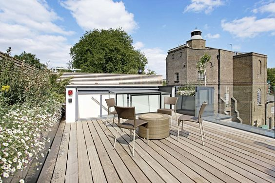 Roof terrace with a Three Wall Box for access. Enjoy the extra space on top of your home.