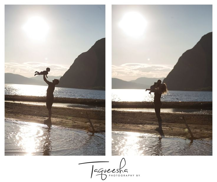 Kamloops Family Photographer, summer evening session. Beach family photos. Photo with mom and photo with dad, beautiful silhouette photos.