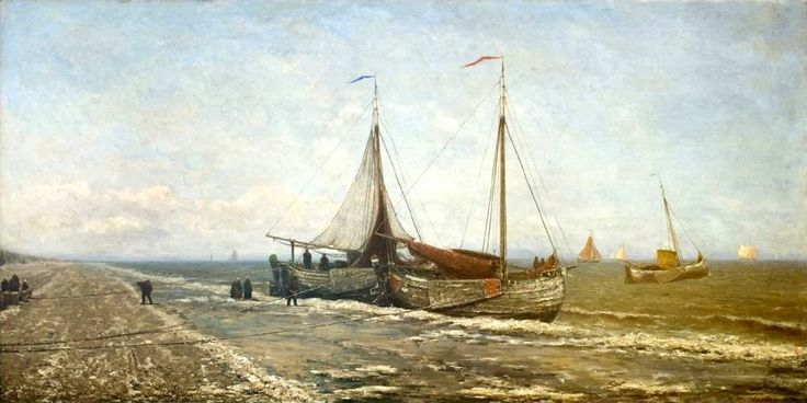 Hendrik Willem Mesdag (1831-1915) Bommen op strand in de winterse kou, 1870.