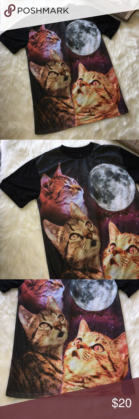 Chemistry Cats Gazing at the Moon Black Jersey Top Super chic and stylish cats gazing at the moon size small in chemistry black jersey knit blouse top in excellent preowned condition Chemistry Tops Tees - Short Sleeve