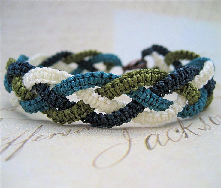 Braided Macrame Bracelets - square knots