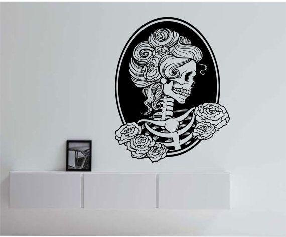 Victorian Woman Sugar Skull Wall Decal Sticker