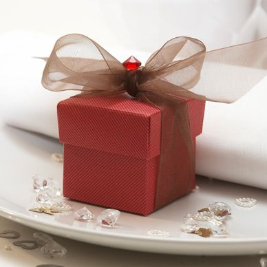 Burgundy Wedding Favour Boxes - 10 Pack