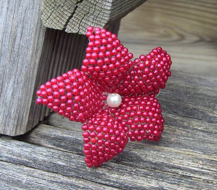 2nd PART flower in beads  -  2° Parte de Flor em miçanga para chinelos ...