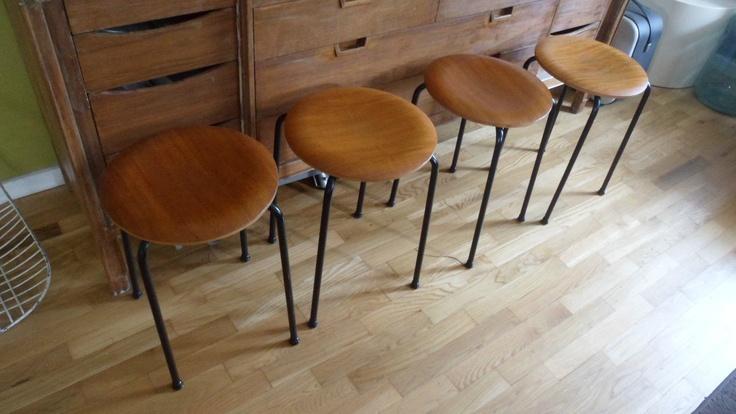 Danish Modern TEAK Arne Jacobsen Ant Stools Stacking Chairs Made in DENMARK | eBay