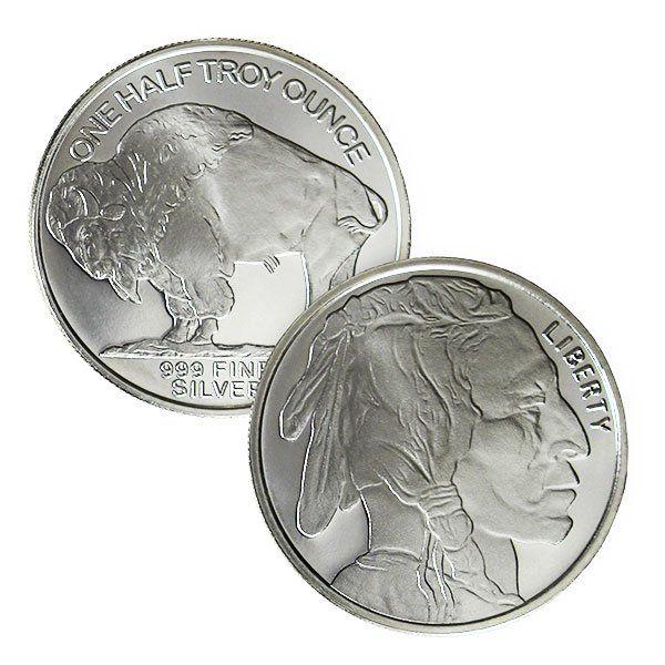 .999 Fine REVERSE-PROOF STRIKE Silver Buffalo//Indian Nickel Round 1 Troy Oz