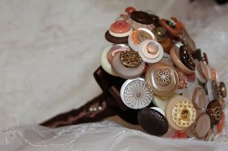 Peach and coffee button bouquets - Forever button bouquets