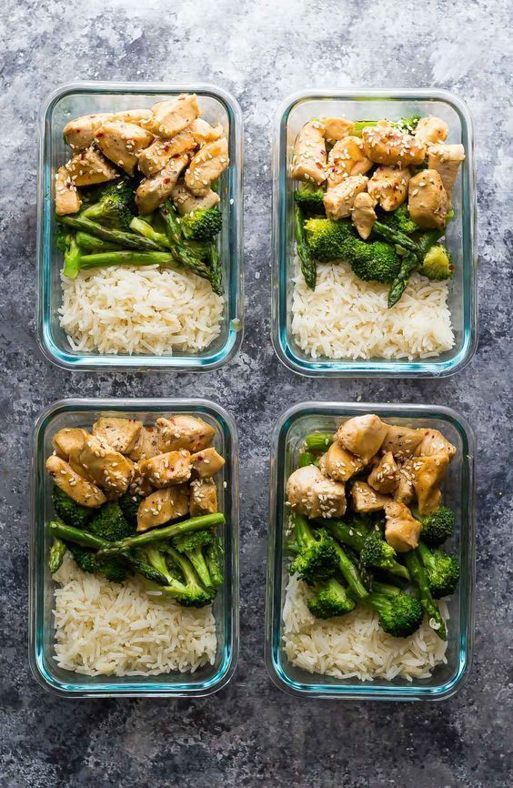 Make these Honey Sesame Chicken Lunch Bowls ahead of time and you'll have FOUR work lunches ready and waiting! A healthy meal prep work lunch recipe.
