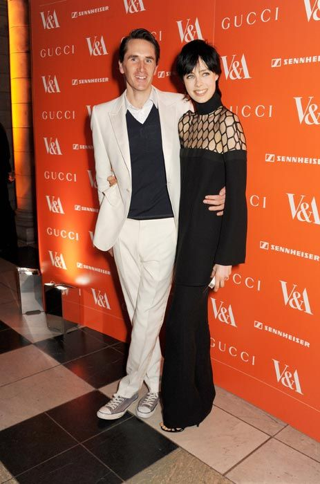 Edie Campbell and Otis Ferry attending the David Bowie exhibition