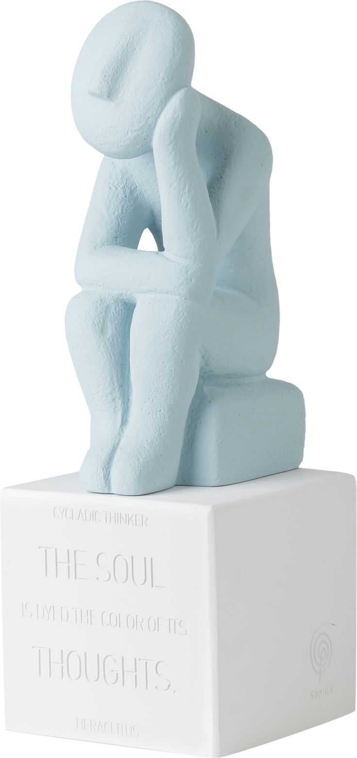 Cycladic Thinker Extra Large. Material: Ceramine Color: Vintage Blue