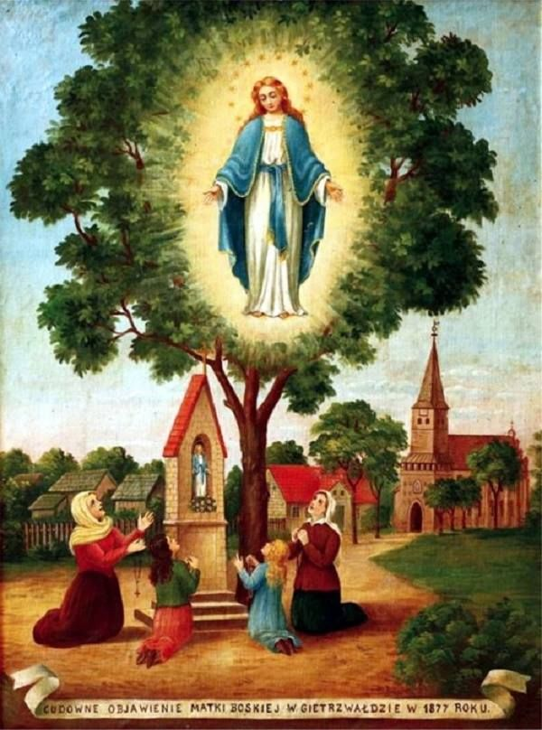 OUR LADY'S APPARITION AT GIETRZWALD, POLAND  Gietrzwałd - it is a village in the North-East part of Poland, in Masurian-Warmia region, 20 km from the town Olsztyn. In the time, when the apparitions took place, Poland was partitioned among 3 countries and did not exist on the map of the world (1795 – 1918). In Masurian-Warmia region, the Polish people were forced to speak German. The Holy Mother, who appeared to two young girls – to Justyna Szafryńska and Barbara Samulowska, came with a…