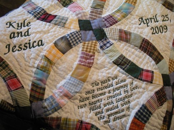 Bluebird Gardens Quilt Service can personalize handmade quilts, handmade throw pillows and other handmade items such as this country double wedding ring quilt