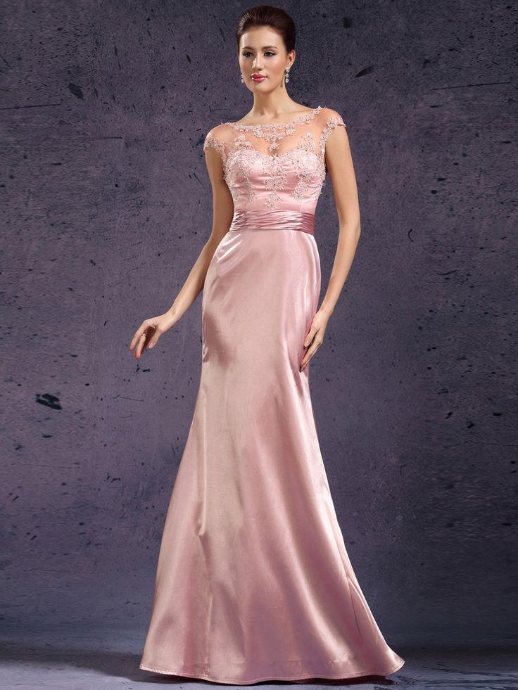 Floor Length Appliques Cap Sleeves Mermaid  Mother of the Bride Dress on nextdress.co.uk