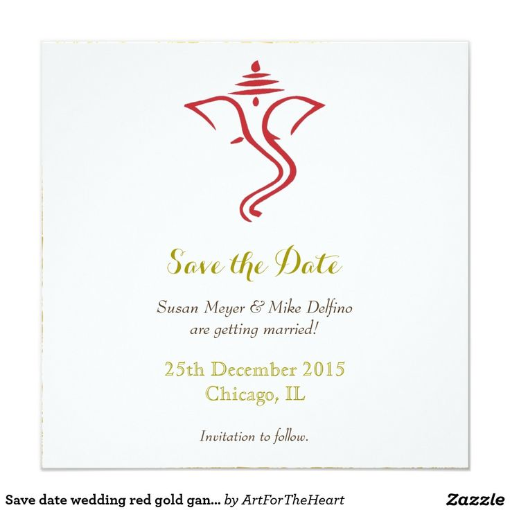 Save Date Wedding Red Gold Ganpati Ganesh Hindu Card
