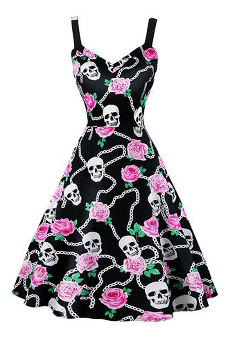 Edgy and feminine. Be both in our Atomic Black Linked Floral and Skulls Swing Dress. Get it here: https://atomicjaneclothing.com/products/atomic-black-linked-floral-and-skulls-swing-dress