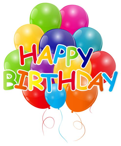 Happy Birthday With Bunch Of Balloons PNG Clip Art Image