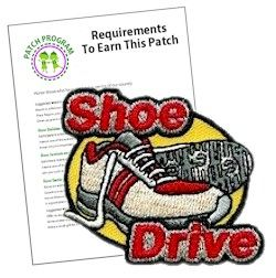 Shoe Drive Service Patch. Join in a sneaker or shoe drive for those in need and earn our Shoe Drive service patch. Download our free suggested requirements for each Girl Scout level.  Available at MakingFriends.com