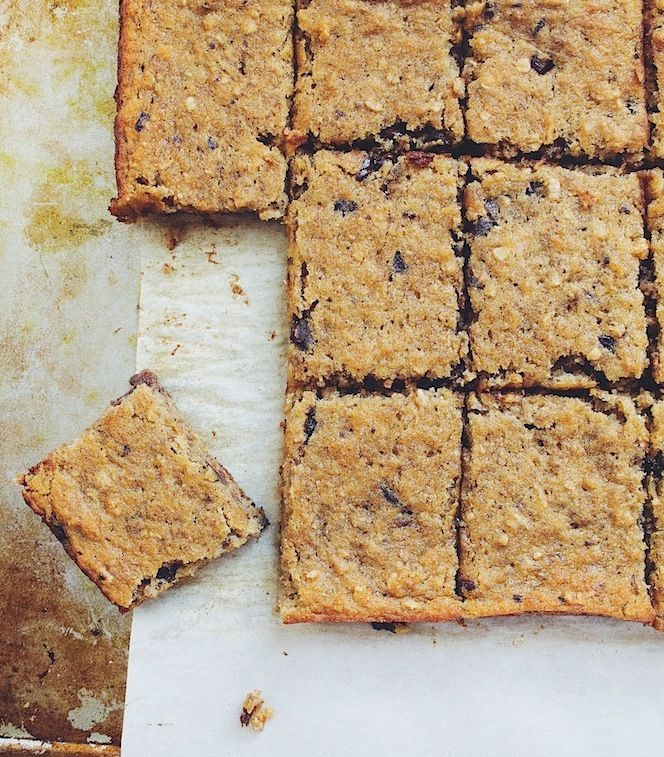 Coconut flour and coconut oil makes these chocolate chip bars so soft and chewy.