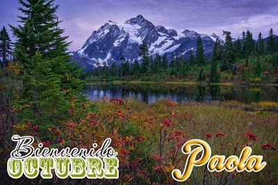 """BANCO DE IMÁGENES Y FOTOS: Paisaje de Otoño con Montañas Nevadas y Nombres de Personas con Mensaje de """"Bienvenido Octubre"""" (Pide Aquí tu Nombre)"""