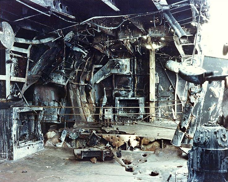 "View of the damage to the starboard quarter 5""/38 gun gallery aboard the U.S. Navy aircraft carrier USS Enterprise (CV-6), resulting from a ..."