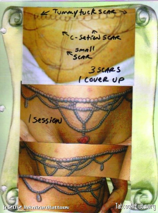 17 best images about tattoos covering up tummy stretch for Tattoo above vagina