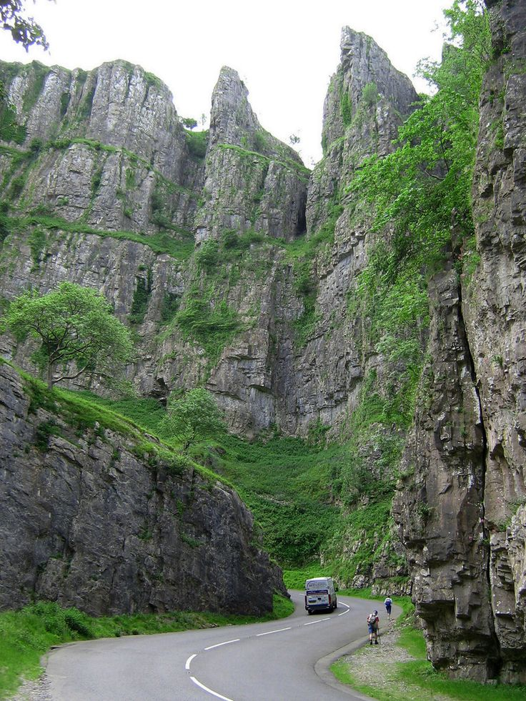 Cheddar Gorge, Somerset, a limestone gorge in the Mendip Hills; as seen from the B3135