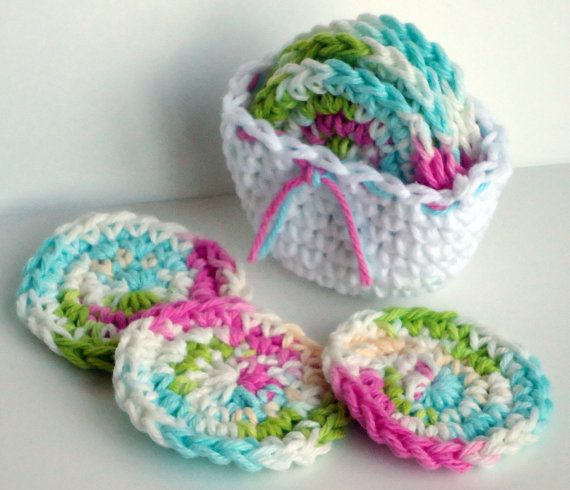 Srubby For Kitchen: Crochet Scrubbies With Crochet Basket