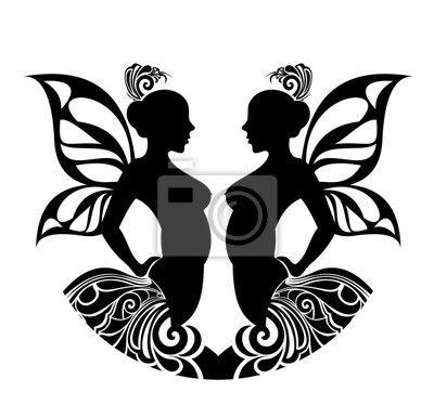 """Fototapeta """"vektorove, odloučený, ornament - znamení zvěrokruhu gemini. tetování…"""