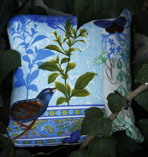 Blue Toned Bird and Butterfly French Provincial Pillow