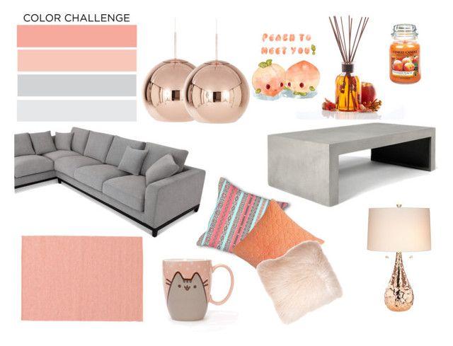 Peach and Grey by nefertiti001 on Polyvore featuring interior, interiors, interior design, home, home decor, interior decorating, Tom Dixon, Kathy Ireland, Pusheen and Pillow Decor