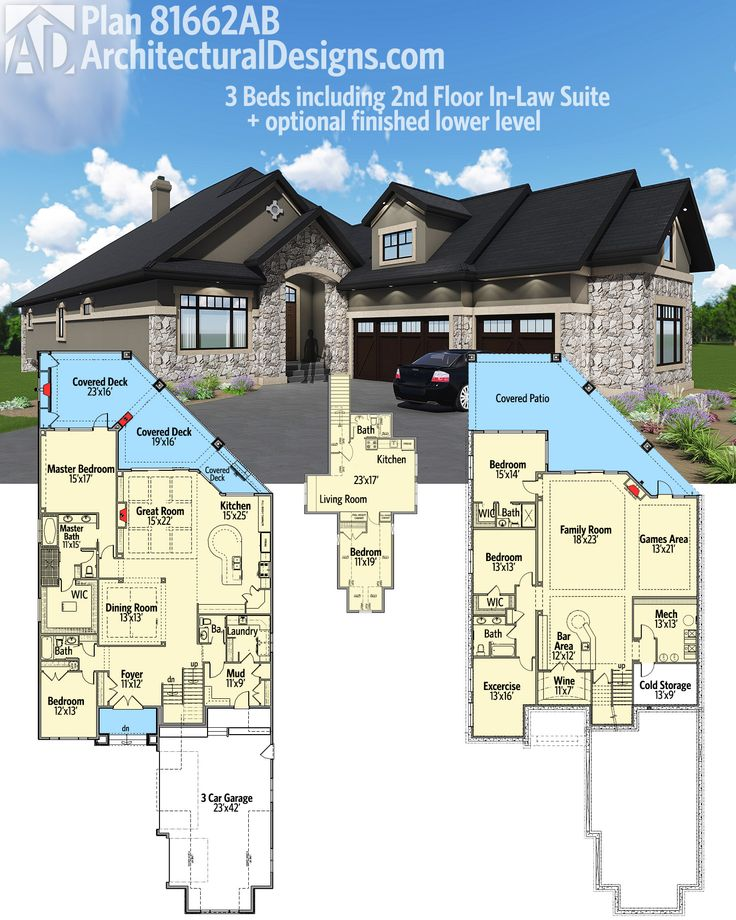 One Story House Plans With Connecting In Law Suite House