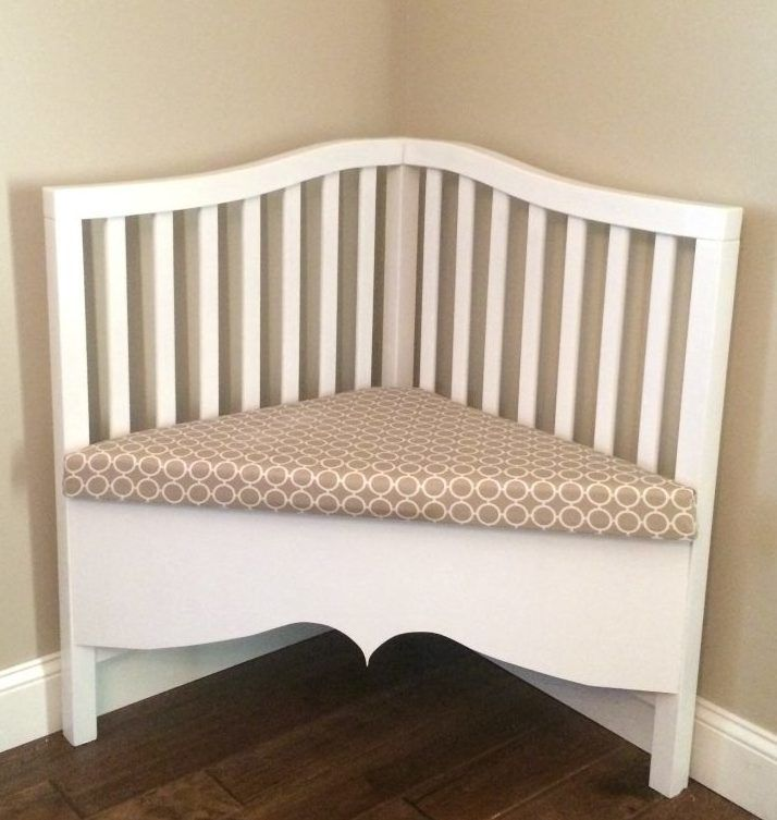 Ways to recycle a child's crib ~ corner-bench
