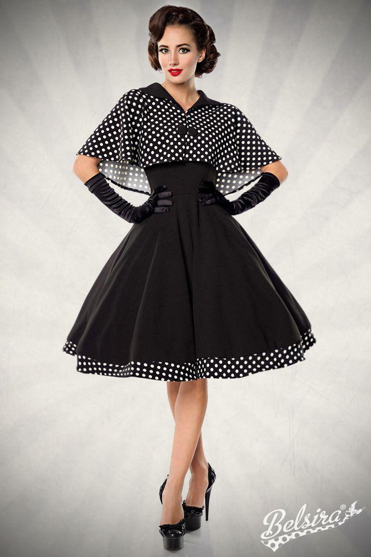 Robe Belsira Vintage Chic Robe et cape noir à pois Reproduction fifties Robe  évasée rétro chic