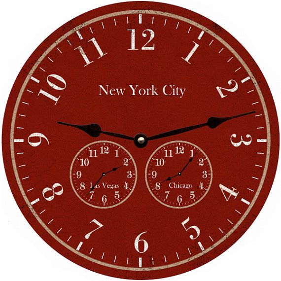 Oversized Time Zone Clock-Red Timezone Wall Clock-Personalized Clock