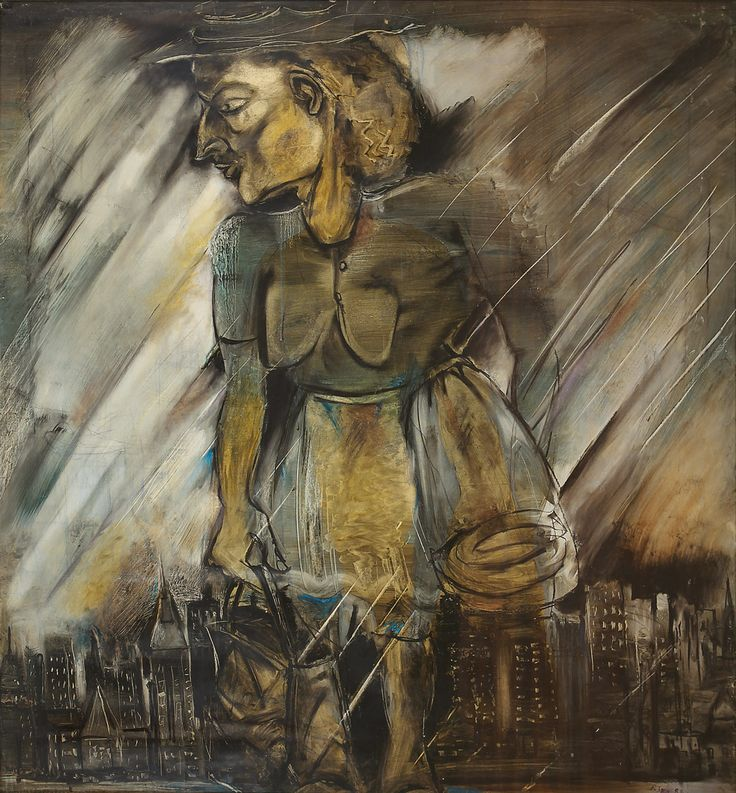 Paritosh Sen Medium: Acrylic and charcoal on paper Year: 1982 Size: 57.5 x 53.2 in.
