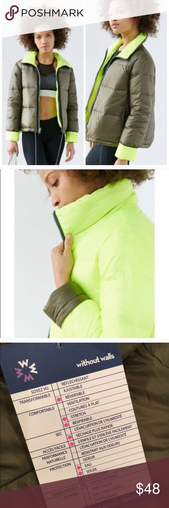 """Free People without walls down align jacket Reversible Without Walls Aline Down Jacket in Moss/Yellow, new with tags. From UO, """"Brave the elements in this this uber-insulated quilted puffer jacket with a reversible solid outer from better-than-basic active wear label Without Walls. adjustable draw chord cinch waist, hand warmer pockets + cozy high collar to protect ya' neck. There are some spots on the front. I'm not sure what it is but will probably come out. Content + Care - Nylon, down…"""