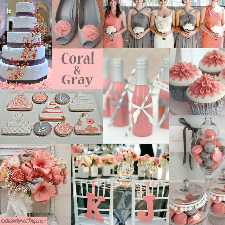 Coral and gray works for most wedding dates but works especially well in late summer and early fall.   #exclusivelyweddings   All of our color stories can be found here: http://pinterest.com/exclusivelywed/wedding-color-stories/   #weddingcolors