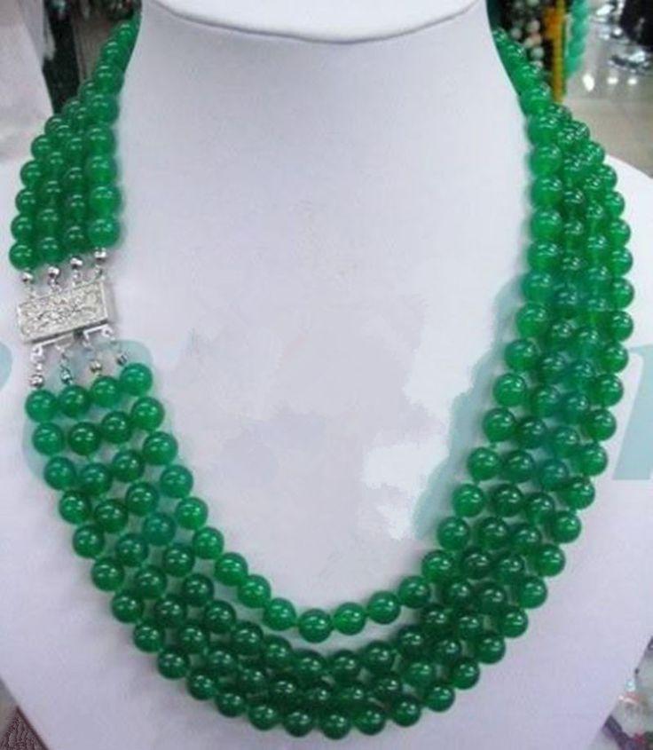 Xiuli 002966 новый 4 STRANDS ювелирные изделия натуральный зеленый халцедон нефрита ожерелье из бисера