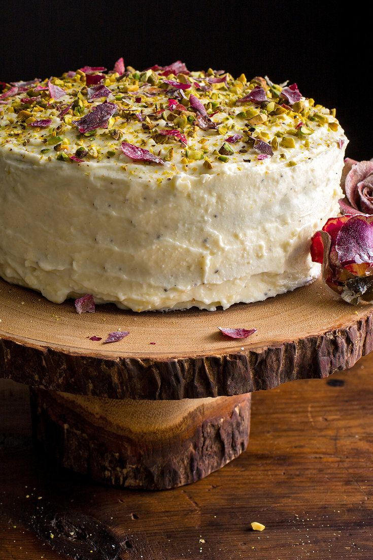 Layer cakes are always festive, particularly when they are four-layered, fluffy and cloudlike. This one, based on the flavors of an Indian dessert called ras malai, combines rose water, ricotta cheese and cardamom. (Photo: Andrew Scrivani for The New York Times)