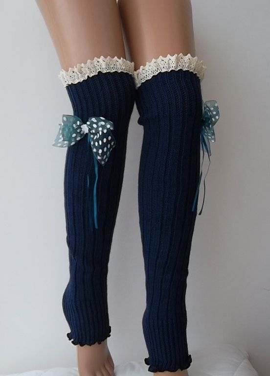 Navy blue - polka dot Ribbon Bow - Leg Warmers -Boot Socks  Knit  leg warmers -Women's Leg warmers -Knee leg warmers by carnavalboutique