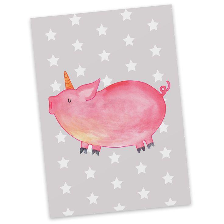 """Postkarte Einhorn Schweinhorn aus Karton 300 Gramm  weiß - Das Original von Mr. & Mrs. Panda.  Jedes wunderschöne Motiv auf unseren Postkarten aus dem Hause Mr. & Mrs. Panda wird mit viel Liebe von Mrs. Panda handgezeichnet und entworfen.  Unsere Postkarten werden mit sehr hochwertigen Tinten gedruckt und sind 40 Jahre UV-Lichtbeständig. Deine Postkarte wird sicher verpackt per Post geliefert.    Über unser Motiv Einhorn Schweinhorn  """"Du kannst alles werden, was du willst!"""" Diesen Spruch…"""