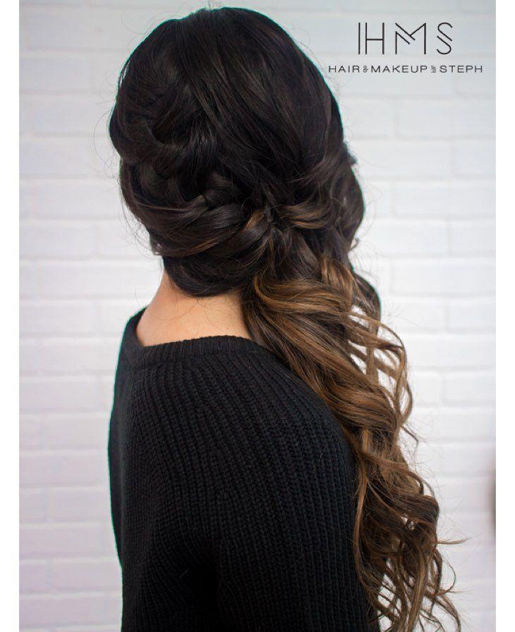 braided side swept . #hairandmakeupbysteph