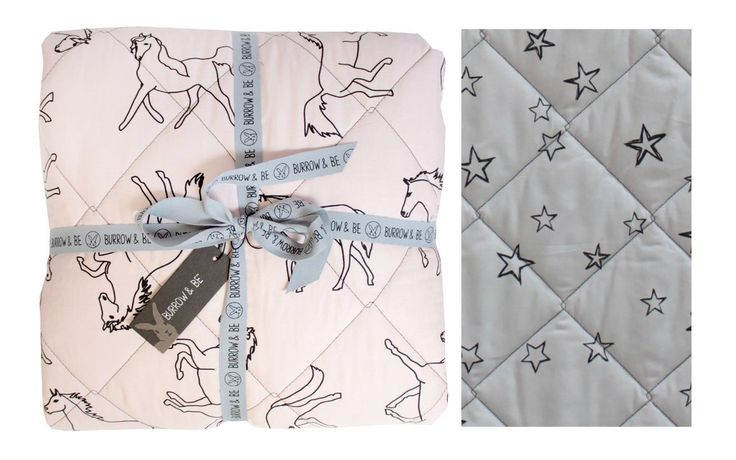 Dreaming of Horses and stars Quilt - Blush / Grey