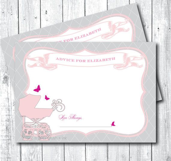 Baby Shower Advice Card   Baby Carriage   Digital, Printable, DIY   Light  Pink And Gray, Baby Girl